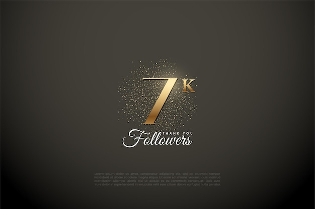 7k followers background with gold digits and glitter.