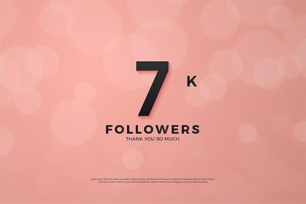 분홍색 배경에 검은색 숫자가 있는 7k 추종자