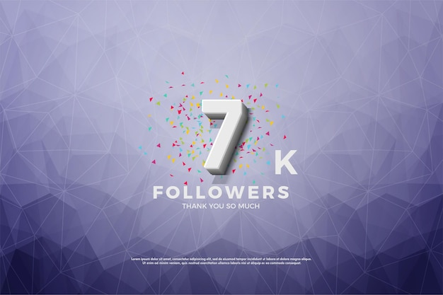 7k подписчиков с тиснеными 3d числами