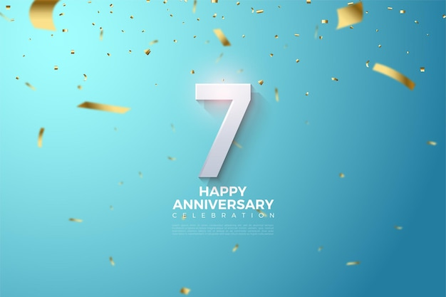 7-я годовщина с трехмерной иллюстрацией цифр на небесно-голубом фоне.