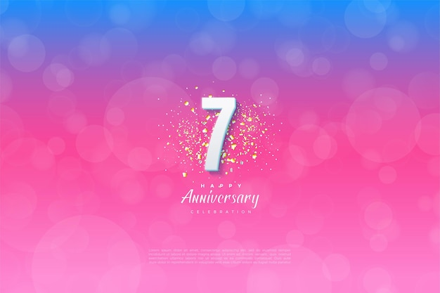 배경이 파란색에서 분홍색으로 등급이 매겨진 7 주년.