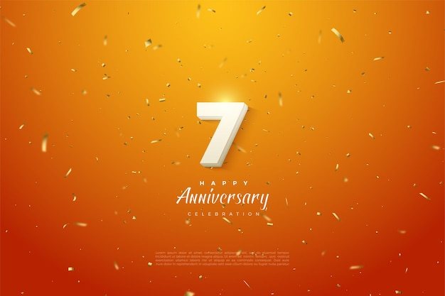 7th anniversary with bold white numbers on gold speckled orange background.