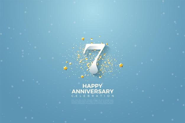 하늘 위에 숫자와 반짝이의 일러스트와 함께 7 주년.
