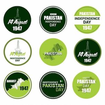 8月14日、パキスタンの日ラベルセット