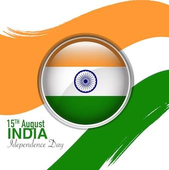 8月15日インドの独立記念日、サークルフラッグが真ん中に面取り