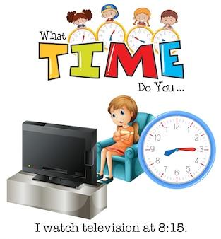 8時15分にテレビを見ている少女