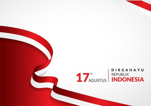 8月17日。インドネシアハッピー独立記念日のグリーティングカード