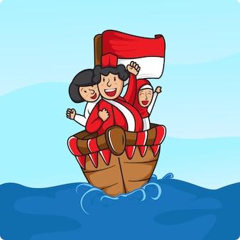 8月17日にインドネシアの海でセーリング