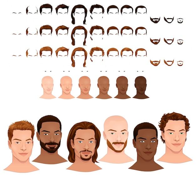 Мужской аватары 8 причесок и 3 лицевые волосы в 3-х различных цветов 6 цветов глаз 6 тонов кожи для нескольких комбинаций в этом изображении некоторые предварительные просмотры векторный файл изолированных объектов