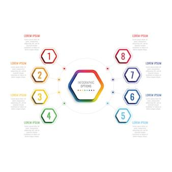六角形の要素を持つ8つのステップ3 dインフォグラフィックテンプレート。パンフレット、図、ワークフロー、タイムライン、webのオプションを持つビジネスプロセステンプレート