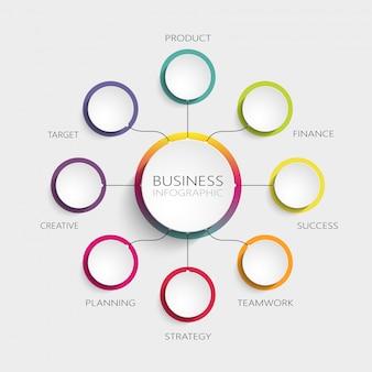 成功のための8つのステップを持つモダンな抽象的な3 dインフォグラフィックテンプレート