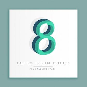 数8で3d抽象的なスタイルのロゴ