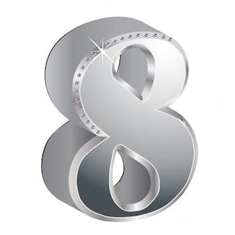 番号8、3d、金属