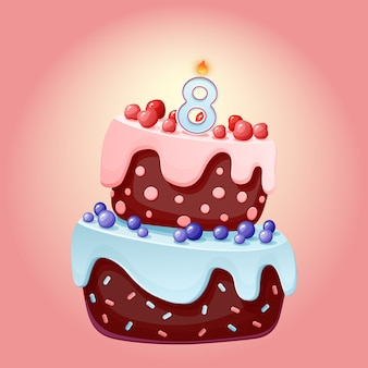キャンドル番号8でかわいい漫画8年誕生日お祝いケーキ