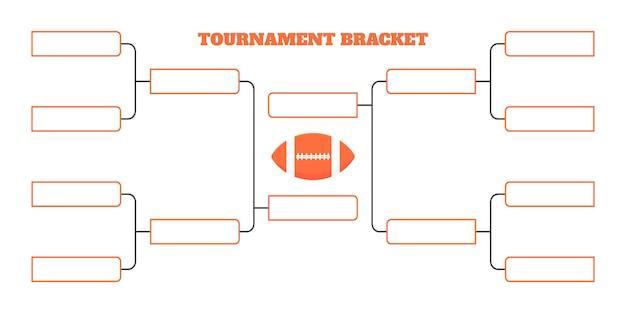 8 шаблон турнирной сетки чемпионата по американскому футболу в плоском стиле