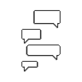 8 bit pixel speech bubbles set vector