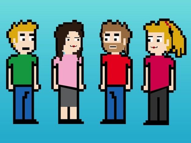 8 bits digital people characters
