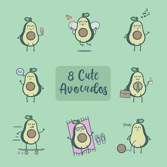 8 симпатичная коллекция аватаров и авокадо