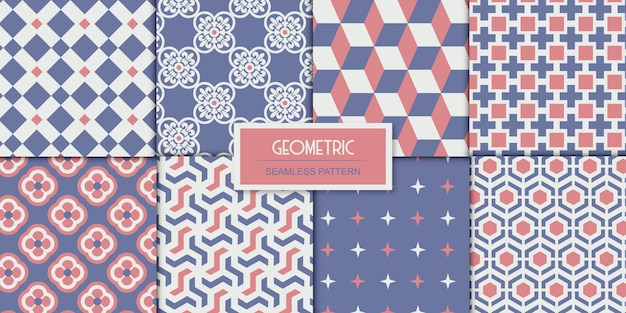 8 cute collection of vector seamless patterns