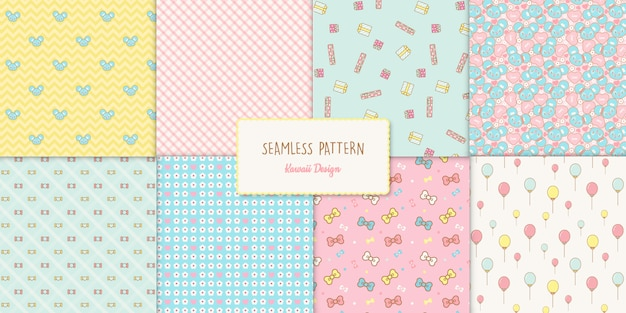 8 cute kawaii birthday seamless patterns set
