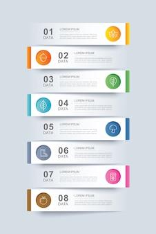 8データインフォグラフィックタブ紙インデックステンプレート。ベクトルイラストの抽象的な背景。ワークフローのレイアウト、ビジネスステップ、バナー、webデザインに使用できます。