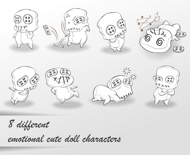8 different doodle cute doll characters.