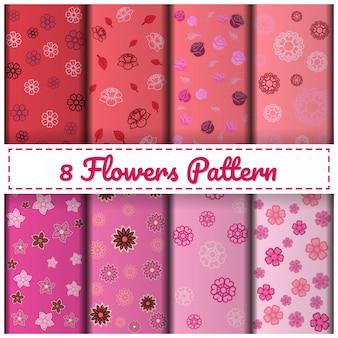 8 flowers pattern set color pink.