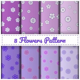 8 flowers pattern set color purple.