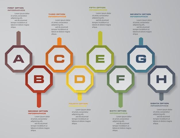 プレゼンテーションのための8つのステップinfographicsタイムライン。