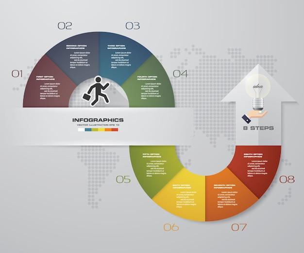 8段階矢印データプレゼンテーション用のinfographicsテンプレート。