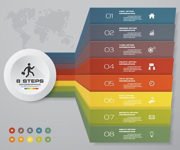 プレゼンテーションのための8段階のinfographics要素図。