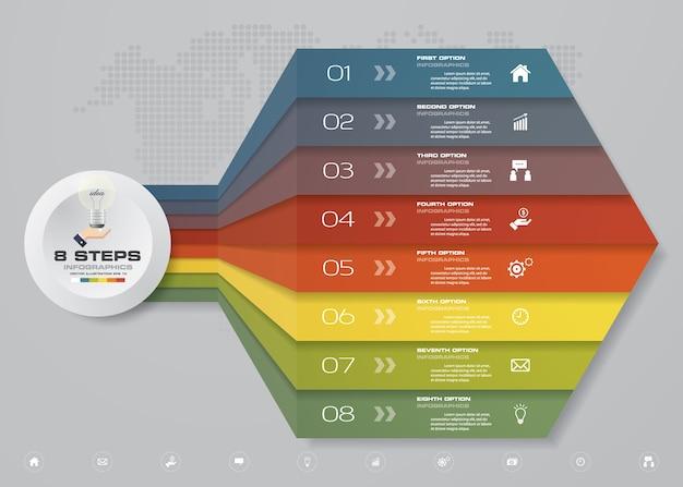 8ステップinfographics矢印テンプレートチャート。
