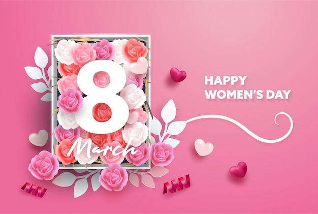 8 march background. international happy women's day. realistic hearts and rose flower and paper style.