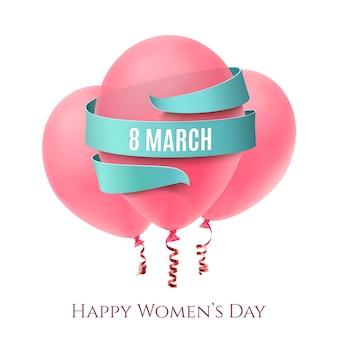 8 марта фон с тремя розовыми воздушными шарами и голубой лентой на белом.