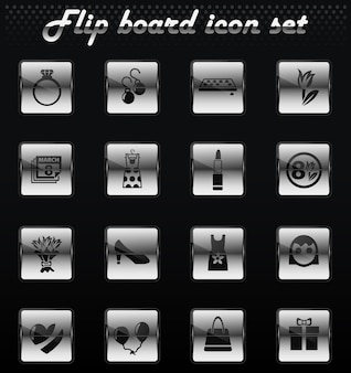 8 march flip mechanical icons for user interface design