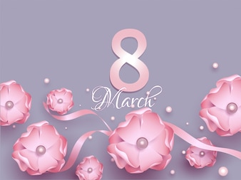 8 March greeting card design decorated with pink paper flowers,