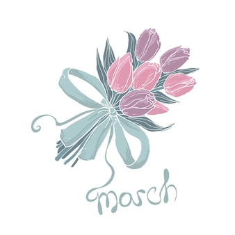 8 march greeting card with floral bouquet