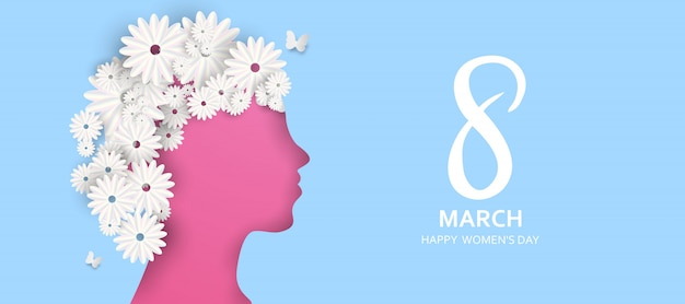 8 march. happy mother's day. paper cut butterfly with flower holiday background