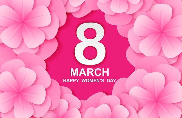 3 월 8 일. 행복한 여성의 날. 종이 예술과 분홍색 꽃을 가진 카드 디자인.