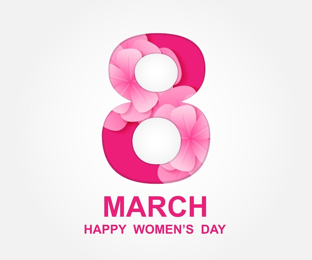8 марта. счастливый женский день. дизайн карты с бумажным искусством и розовыми цветами.