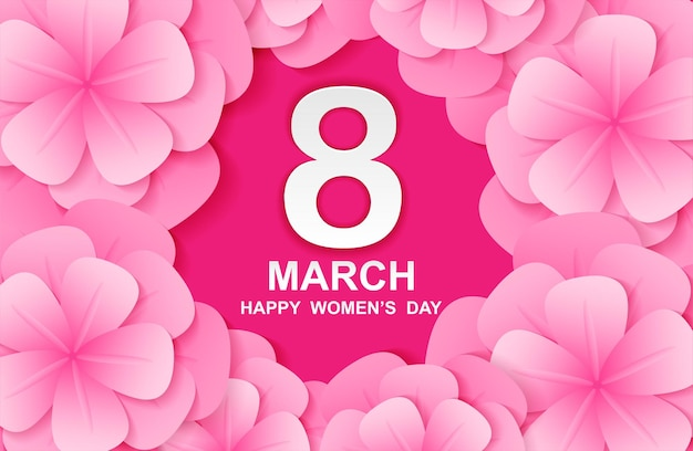 8 march. happy woman's day. card design with paper art and pink flowers.