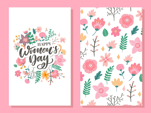 8 march. happy woman's day  congratulation card with linear floral wreath