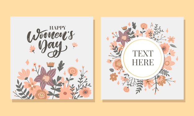 8 march. happy woman's day vector congratulation card with linear floral wreath