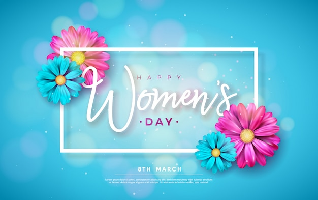 8 march. happy women's day floral greeting card.