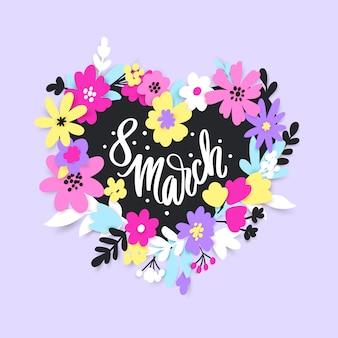 3月8日。紙のカットスタイルの花と葉を持つ幸せな女性の日グリーティングカード。