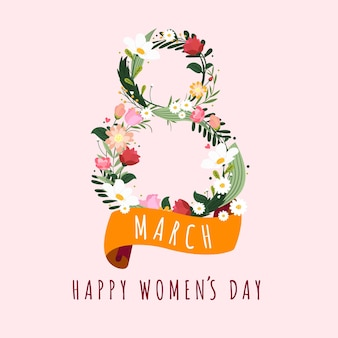 8 march happy women's day greeting card