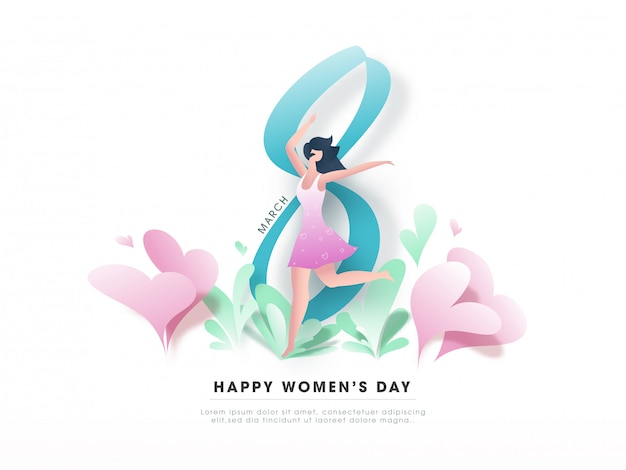 8 march, happy women's day text with modern cartoon young girl dancing and paper hearts on white greeting card