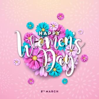 3 월 8 일. 행복한 여성의 날 꽃 인사말 카드입니다. 분홍색 배경에 꽃 디자인으로 국제 휴가 그림.