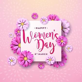 3月8日。幸せな女性の日の花のグリーティングカード。ピンクの背景に花のデザインと国際休日イラスト。