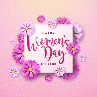 8 march. happy womens day floral greeting card. international holiday illustration with flower design on pink background.